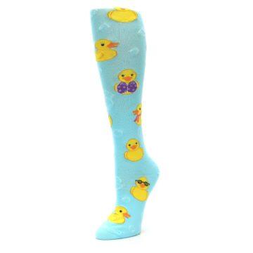 Image of Light Blue Rubber Ducks Women's Knee High Socks (side-2-09)