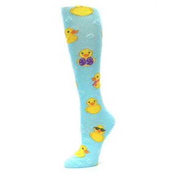 Image of Light Blue Rubber Ducks Women's Knee High Socks (side-2-10)
