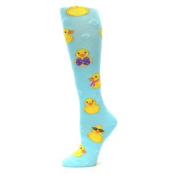 Image of Light Blue Rubber Ducks Women's Knee High Socks (side-2-11)