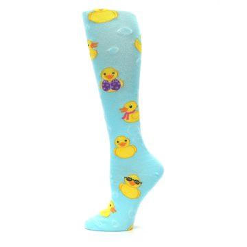 Image of Light Blue Rubber Ducks Women's Knee High Socks (side-2-12)