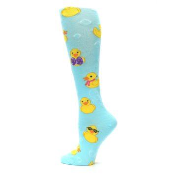 Image of Light Blue Rubber Ducks Women's Knee High Socks (side-2-13)