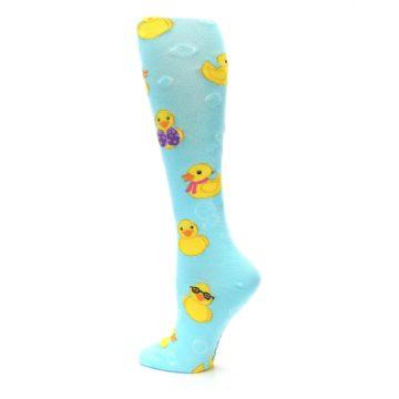 Image of Light Blue Rubber Ducks Women's Knee High Socks (side-2-back-14)