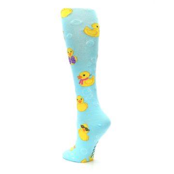 Image of Light Blue Rubber Ducks Women's Knee High Socks (side-2-back-15)