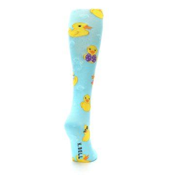 Image of Light Blue Rubber Ducks Women's Knee High Socks (side-1-back-21)