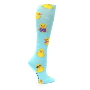 Image of Light Blue Rubber Ducks Women's Knee High Socks (side-1-24)