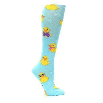 Image of Light Blue Rubber Ducks Women's Knee High Socks (side-1-25)