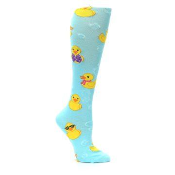 Image of Light Blue Rubber Ducks Women's Knee High Socks (side-1-26)
