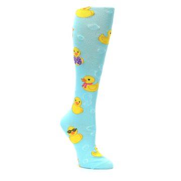 Image of Light Blue Rubber Ducks Women's Knee High Socks (side-1-27)