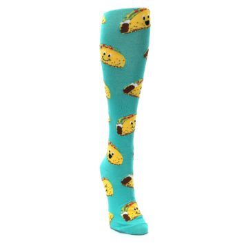 Image of Turquoise Yellow Tacos Women's Knee High Socks (side-1-front-02)