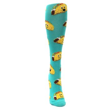 Image of Turquoise Yellow Tacos Women's Knee High Socks (side-1-front-03)