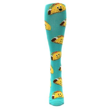 Image of Turquoise Yellow Tacos Women's Knee High Socks (front-04)