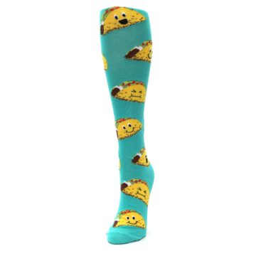 Image of Turquoise Yellow Tacos Women's Knee High Socks (side-2-front-06)