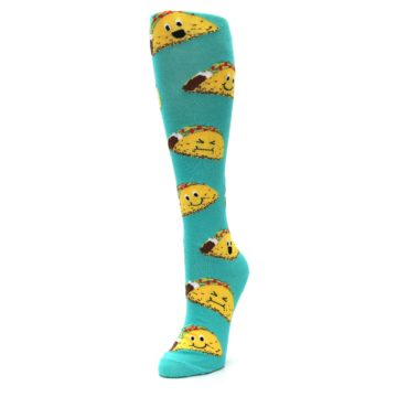 Image of Turquoise Yellow Tacos Women's Knee High Socks (side-2-front-07)