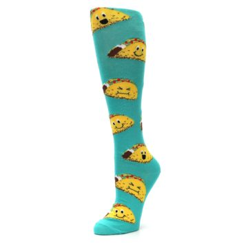 Image of Turquoise Yellow Tacos Women's Knee High Socks (side-2-front-08)