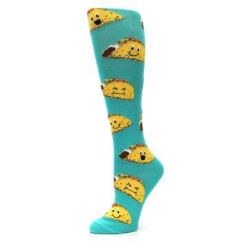 Image of Turquoise Yellow Tacos Women's Knee High Socks (side-2-09)