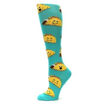 Image of Turquoise Yellow Tacos Women's Knee High Socks (side-2-10)