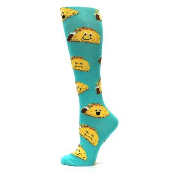 Image of Turquoise Yellow Tacos Women's Knee High Socks (side-2-11)