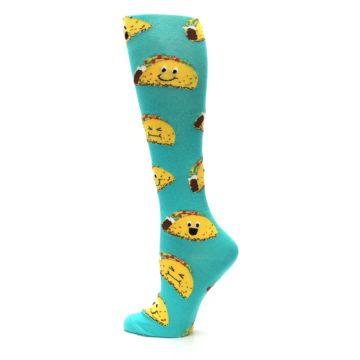 Image of Turquoise Yellow Tacos Women's Knee High Socks (side-2-12)