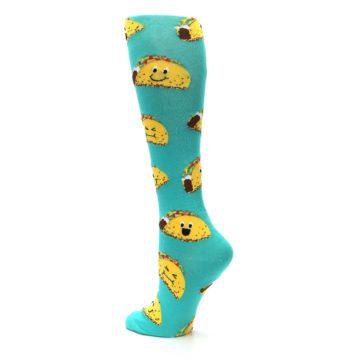 Image of Turquoise Yellow Tacos Women's Knee High Socks (side-2-13)