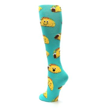 Image of Turquoise Yellow Tacos Women's Knee High Socks (side-2-back-14)
