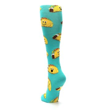 Image of Turquoise Yellow Tacos Women's Knee High Socks (side-2-back-15)