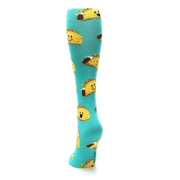 Image of Turquoise Yellow Tacos Women's Knee High Socks (side-2-back-16)