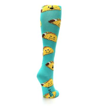Image of Turquoise Yellow Tacos Women's Knee High Socks (side-1-back-20)