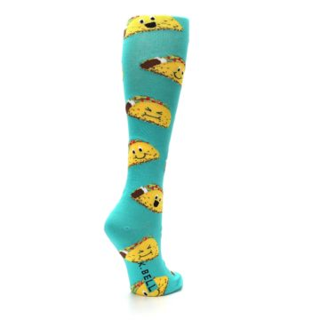 Image of Turquoise Yellow Tacos Women's Knee High Socks (side-1-back-21)