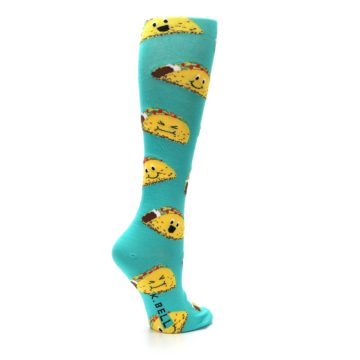 Image of Turquoise Yellow Tacos Women's Knee High Socks (side-1-back-22)
