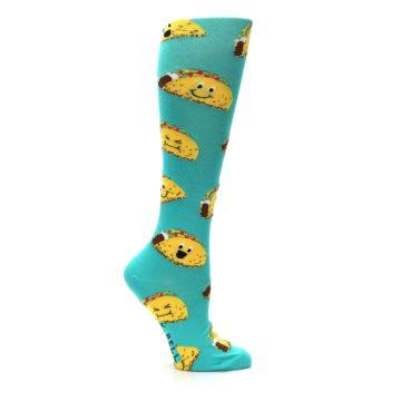 Image of Turquoise Yellow Tacos Women's Knee High Socks (side-1-23)