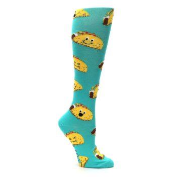 Image of Turquoise Yellow Tacos Women's Knee High Socks (side-1-24)