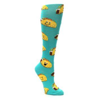 Image of Turquoise Yellow Tacos Women's Knee High Socks (side-1-25)