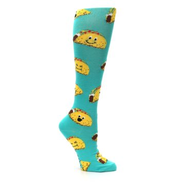 Image of Turquoise Yellow Tacos Women's Knee High Socks (side-1-26)