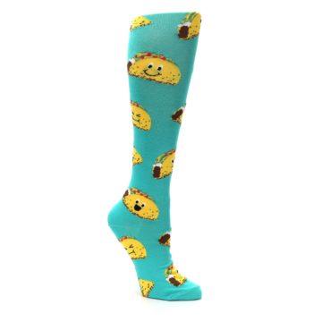 Image of Turquoise Yellow Tacos Women's Knee High Socks (side-1-27)