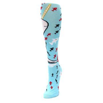 Image of Light Blue Narwhal Women's Knee High Socks (side-2-front-07)
