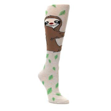Tan-Brown-Sloth-Womens-Knee-High-Socks-K-Bell-Socks