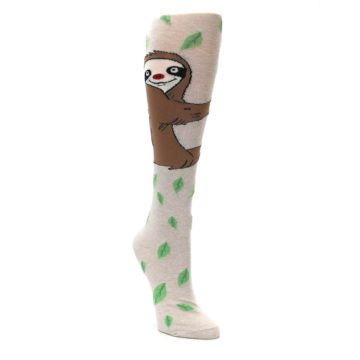 Image of Tan Brown Sloth Socks – Women's Knee High Socks (side-1-front-02)
