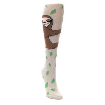 Image of Tan Brown Sloth Socks – Women's Knee High Socks (side-1-front-03)