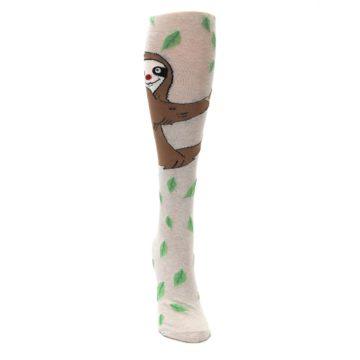 Image of Tan Brown Sloth Socks – Women's Knee High Socks (front-04)