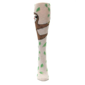 Image of Tan Brown Sloth Women's Knee High Socks (front-05)