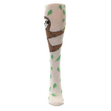 Image of Tan Brown Sloth Socks – Women's Knee High Socks (front-05)