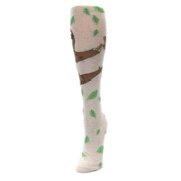 Image of Tan Brown Sloth Women's Knee High Socks (side-2-front-07)