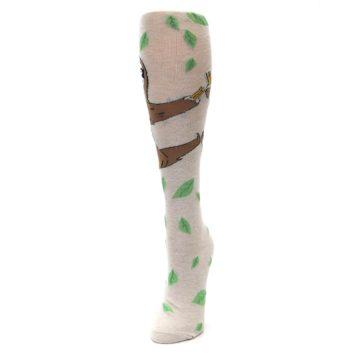Image of Tan Brown Sloth Socks – Women's Knee High Socks (side-2-front-07)