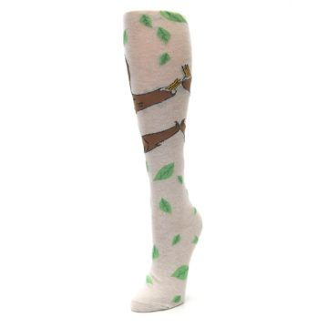 Image of Tan Brown Sloth Socks – Women's Knee High Socks (side-2-front-08)