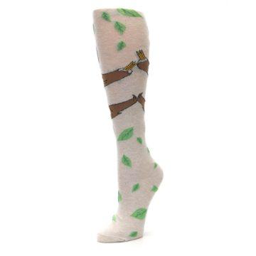 Image of Tan Brown Sloth Women's Knee High Socks (side-2-09)