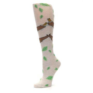 Image of Tan Brown Sloth Women's Knee High Socks (side-2-10)