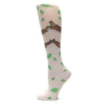 Image of Tan Brown Sloth Women's Knee High Socks (side-2-12)