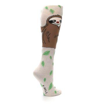Image of Tan Brown Sloth Women's Knee High Socks (side-1-23)