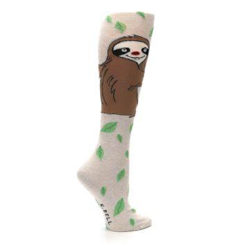 Image of Tan Brown Sloth Women's Knee High Socks (side-1-24)
