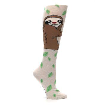 Image of Tan Brown Sloth Women's Knee High Socks (side-1-25)